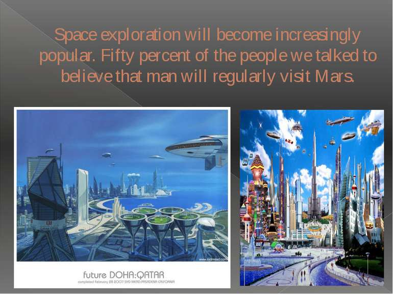 Space exploration will become increasingly popular. Fifty percent of the peop...