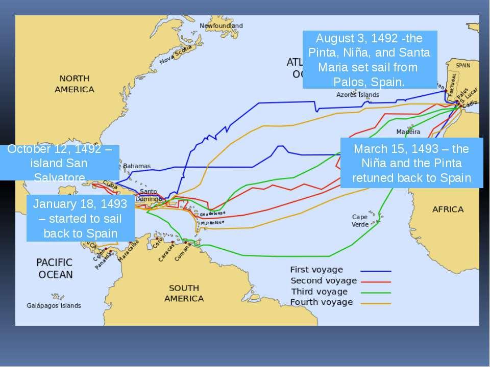 October 12, 1492 – island San Salvatore August 3, 1492 -the Pinta, Niña, and ...
