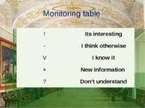 Monitoring table ! Itsinteresting - Ithinkotherwise V Iknowit + Newinformatio...
