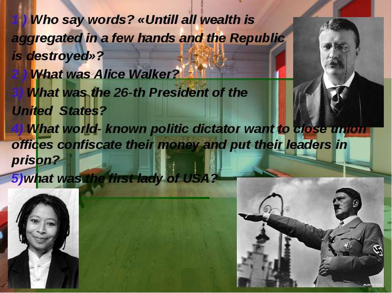 1 ) Who say words? «Untill all wealth is aggregated in a few hands and the Re...