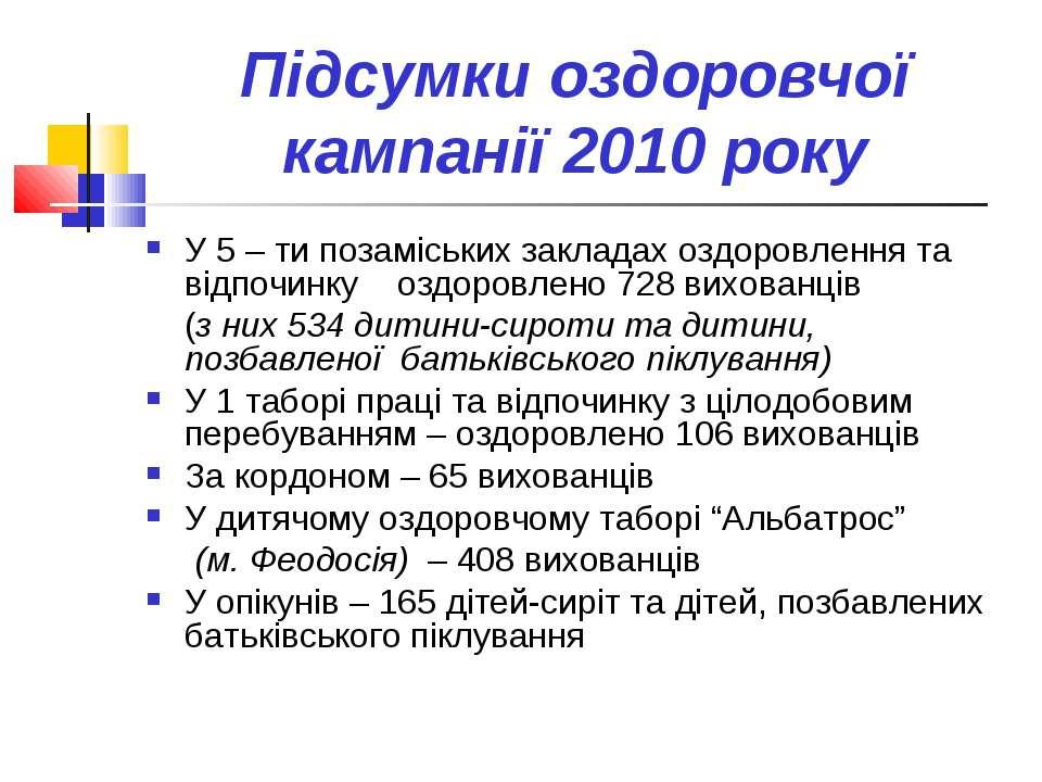 Підсумки оздоровчої кампанії 2010 року У 5 – ти позаміських закладах оздоровл...