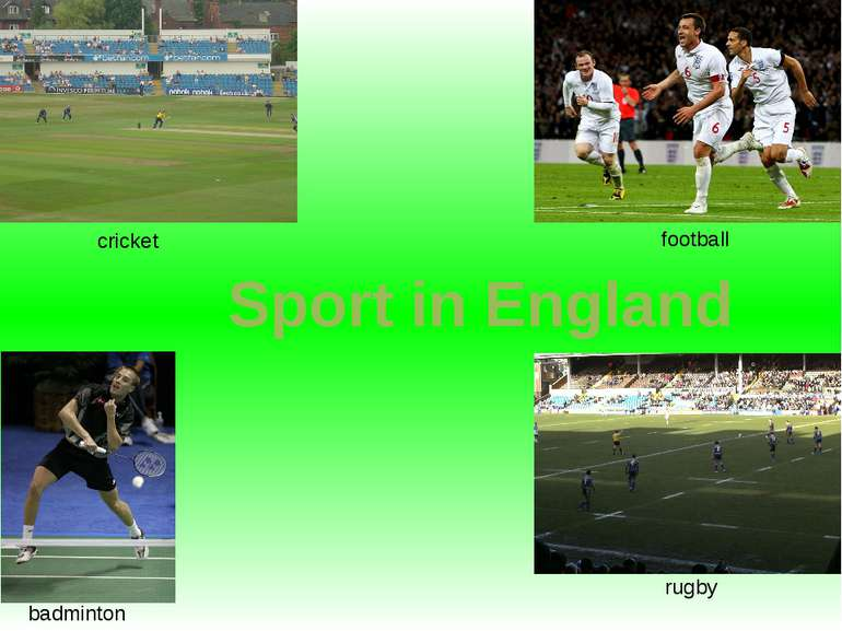 cricket football rugby badminton Sport in England