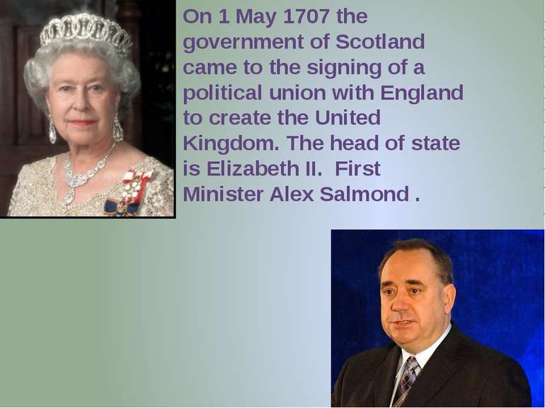 On 1 May 1707 the government of Scotland came to the signing of a political u...