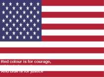 The flag of the USA Red colour is for courage, White is for purity, And blue ...