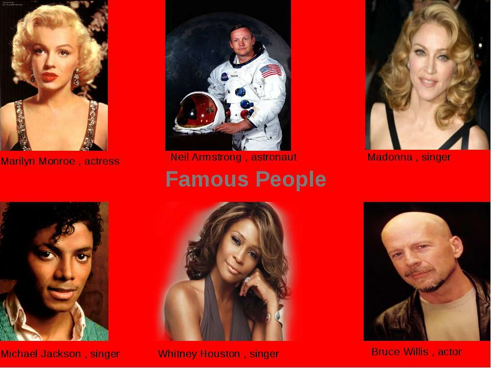 Famous People Marilyn Monroe , actress Madonna , singer Neil Armstrong , astr...