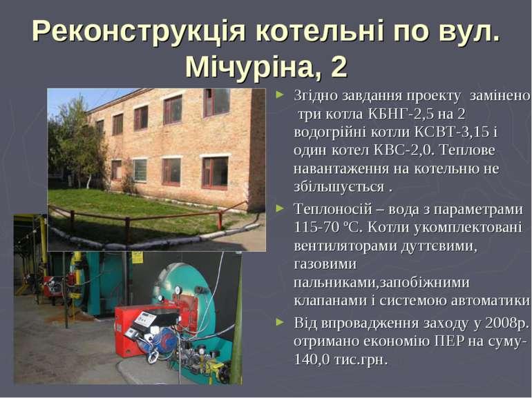Реконструкція котельні по вул. Мічуріна, 2 Згідно завдання проекту замінено т...