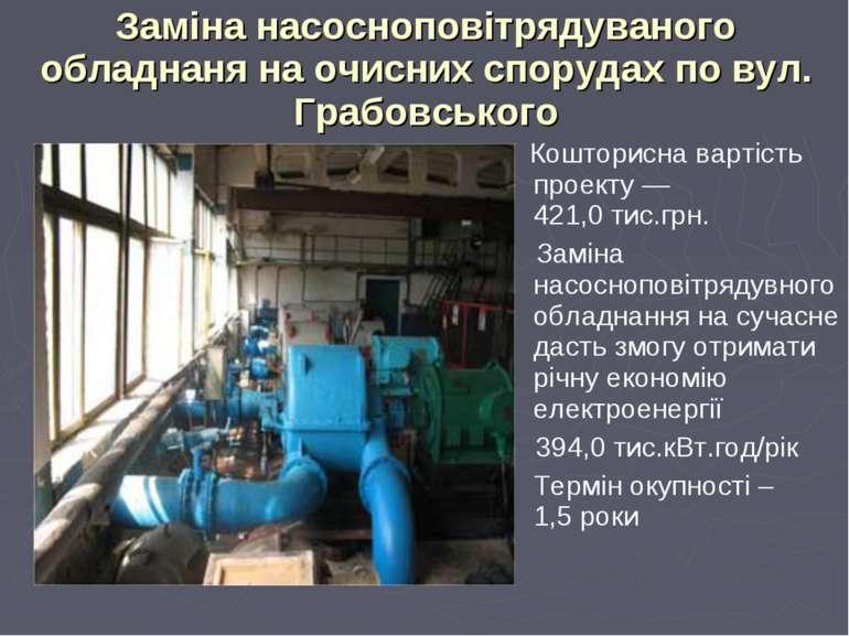 Заміна насосноповітрядуваного обладнаня на очисних спорудах по вул. Грабовськ...