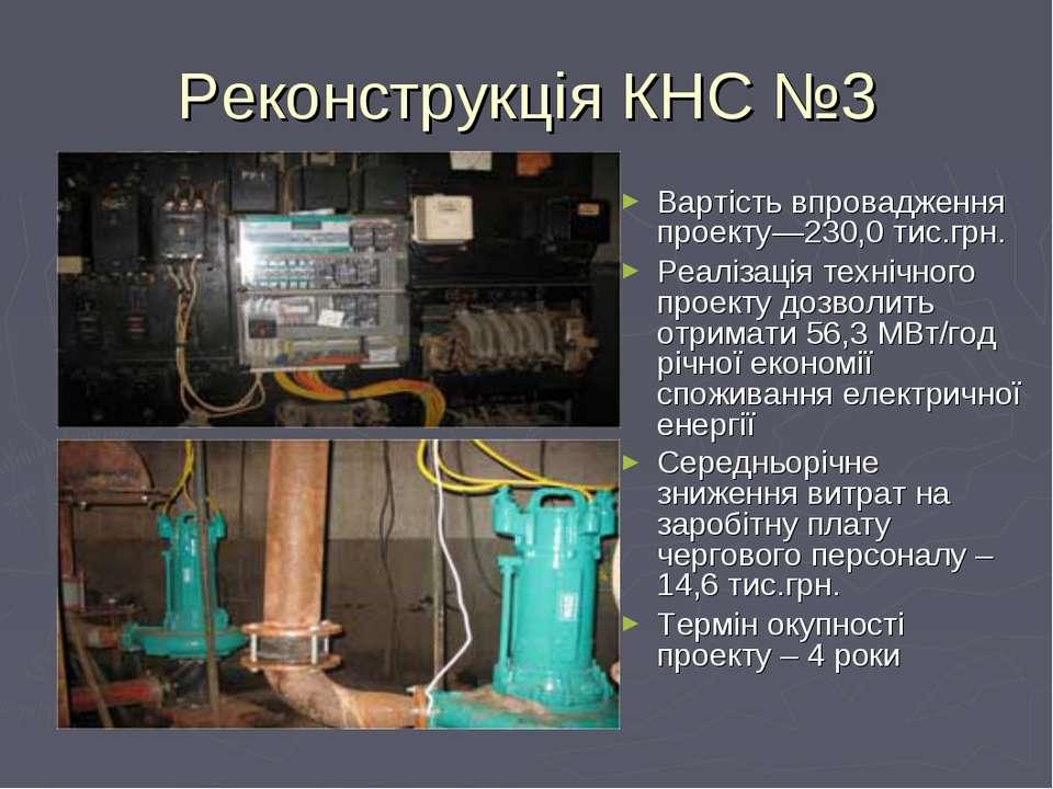Реконструкція КНС №3 Вартість впровадження проекту—230,0 тис.грн. Реалізація ...
