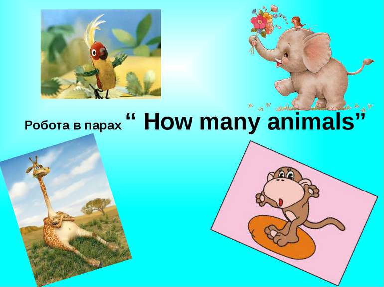 "Робота в парах "" How many animals"""