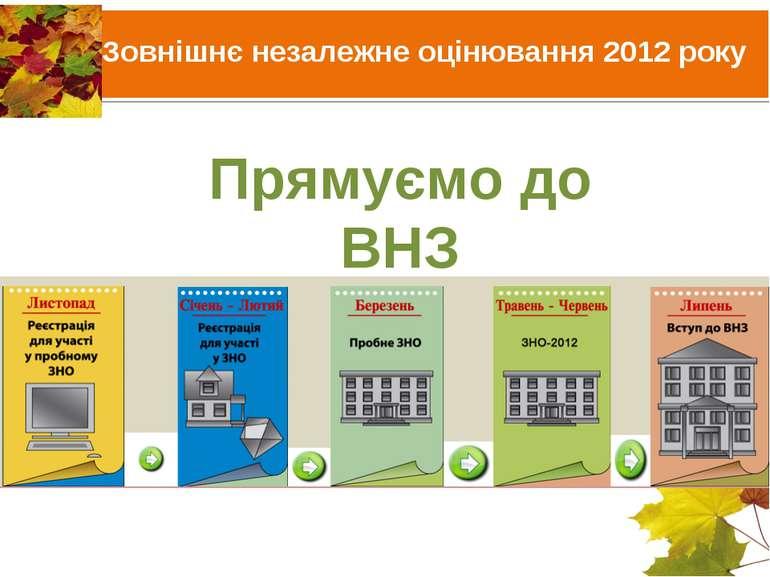 Прямуємо до ВНЗ Зовнішнє незалежне оцінювання 2012 року