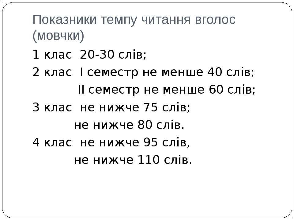 Показники темпу читання вголос (мовчки) 1 клас 20-30 слів; 2 клас І семестр н...