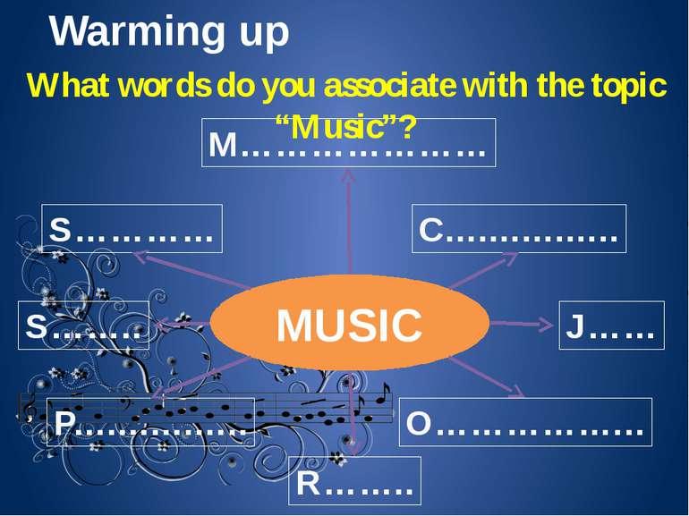 Warming up MUSIC M………………… C................ O……………... J…… R…….. P...............