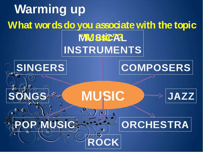Warming up MUSIC MUSICAL INSTRUMENTS COMPOSERS ORCHESTRA JAZZ ROCK POP MUSIC ...