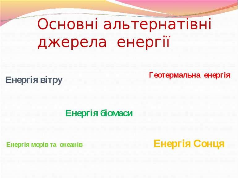 Основні альтернатівні джерела енергії Енергія вітру Енергія морів та океанів ...