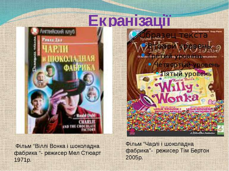 """Екранізації Фільм """"Віллі Вонка і шоколадна фабрика """"- режисер Мел Стюарт 1971..."""