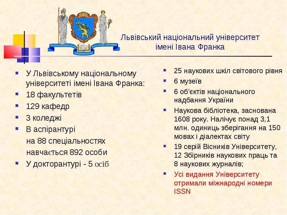 Львівський національний університет імені Івана Франка У Львівському націонал...