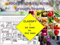 Work in pairs, small groups/teams CLASSIFY! 1st team vs. 2nd team