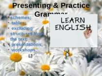 Presenting & Practice Grammar schemes; tables; excluding structures from the ...