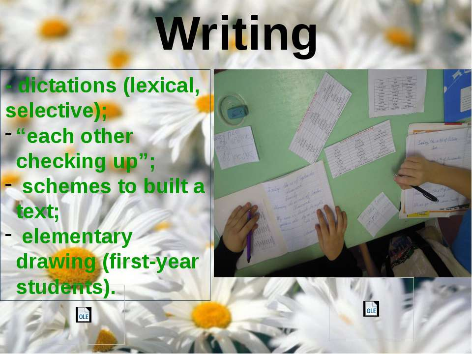 "Writing - dictations (lexical, selective); ""each other checking up""; schemes ..."