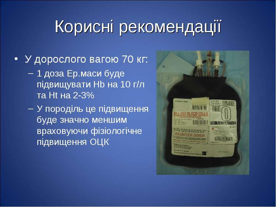 Корисні рекомендації У дорослого вагою 70 кг: 1 доза Ер.маси буде підвищувати...