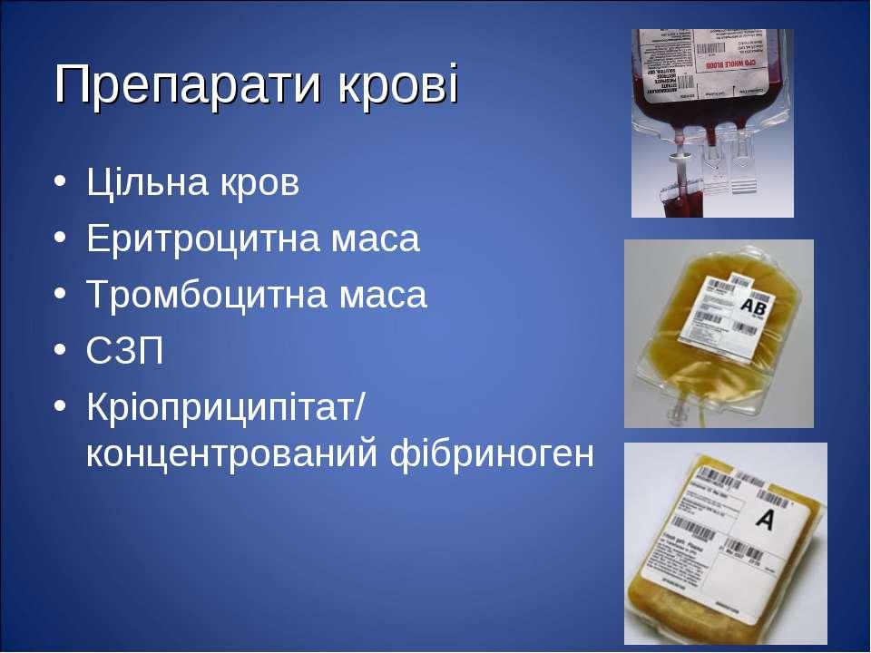 Препарати крові Цільна кров Еритроцитна маса Тромбоцитна маса СЗП Кріоприципі...