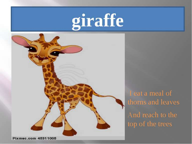 giraffe I eat a meal of thorns and leaves And reach to the top of the trees