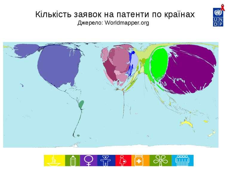 Кількість заявок на патенти по країнах Джерело: Worldmapper.org