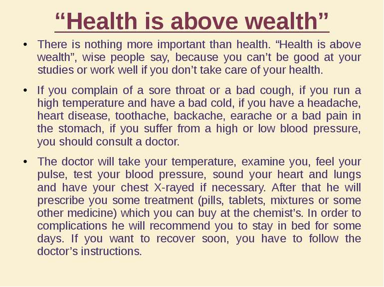 """""""Health is above wealth"""" There is nothing more important than health. """"Health..."""