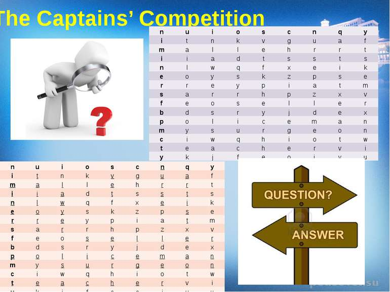 The Captains' Competition n u i o s c n q y i t n k v g u a f m a l l e h r r...