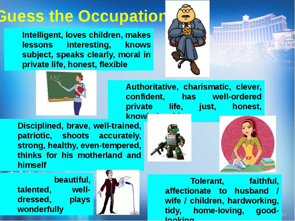 Guess the Occupation beautiful, talented, well-dressed, plays wonderfully Int...