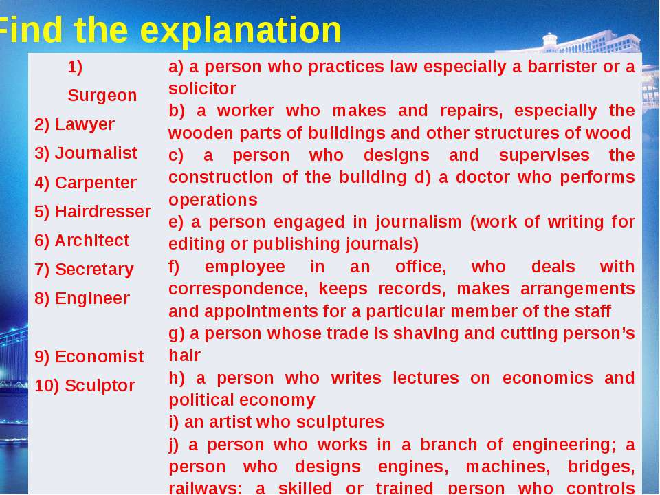 Find the explanation 1) Surgeon 2) Lawyer 3) Journalist 4) Carpenter 5) Haird...