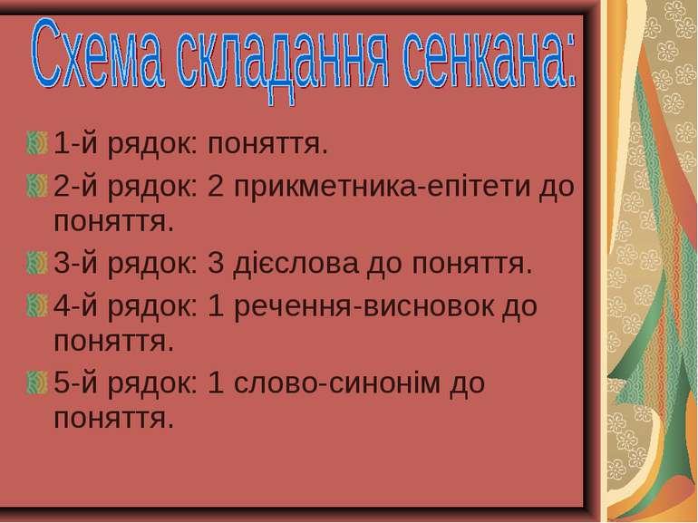 1-й рядок: поняття. 2-й рядок: 2 прикметника-епітети до поняття. 3-й рядок: 3...
