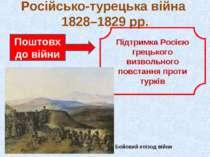 Російсько-турецька війна 1828–1829 рр. Поштовх до війни Підтримка Росією грец...