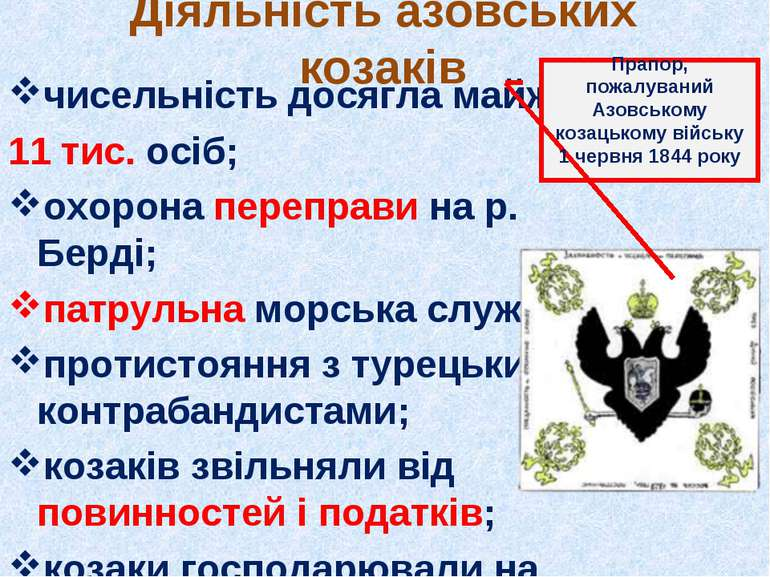 Діяльність азовських козаків чисельність досягла майже 11 тис. осіб; охорона ...
