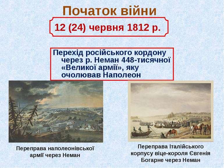 Початок війни Перехід російського кордону через р. Неман 448-тисячної «Велико...