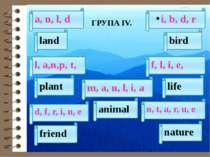 ГРУПА ІV. a, n, l, d i, b, d, r land m, a, n, l, i, а bird animal nature n, t...