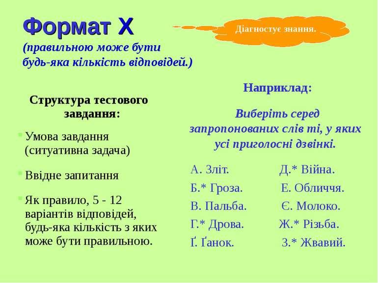 Формат X (правильною може бути будь-яка кількість відповідей.) Структура тест...