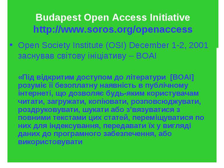 Budapest Open Access Initiative http://www.soros.org/openaccess Open Society ...