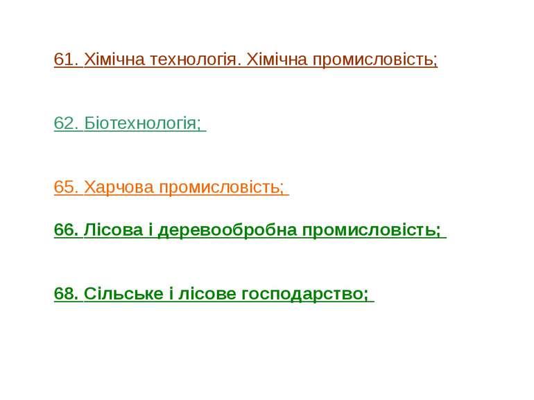 61. Хімічна технологія. Хімічна промисловість; 62. Біотехнологія; 65. Харчова...
