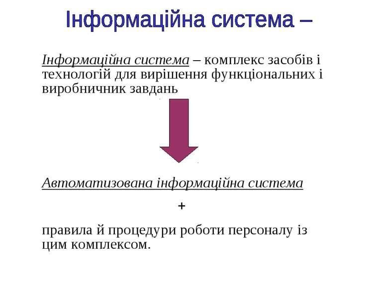 Інформаційна система – комплекс засобів і технологій для вирішення функціонал...