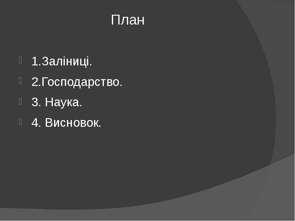 План 1.Заліниці. 2.Господарство. 3. Наука. 4. Висновок.