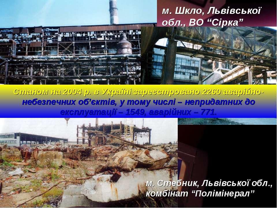 """м. Шкло, Львівської обл., ВО """"Сірка"""" м. Стебник, Львівської обл., комбінат """"П..."""