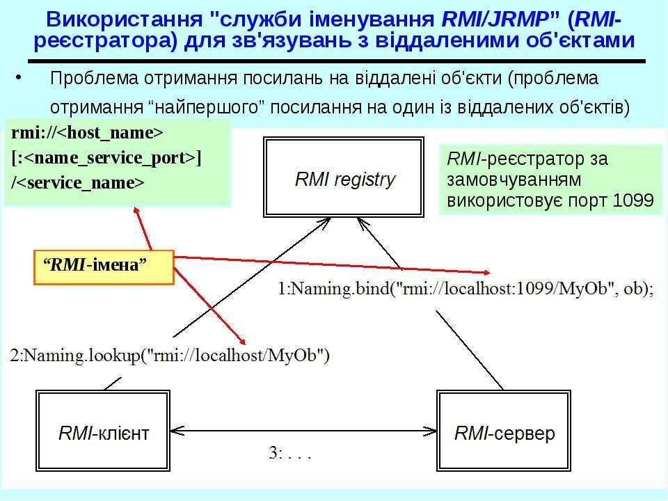 """Використання """"служби іменування RMI/JRMP"""" (RMI- реєстратора) для зв'язувань з..."""