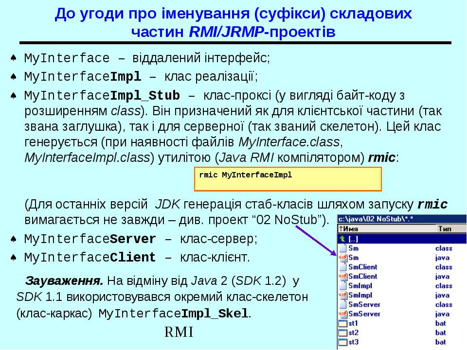 До угоди про іменування (суфікси) складових частин RMI/JRMP-проектів MyInterf...