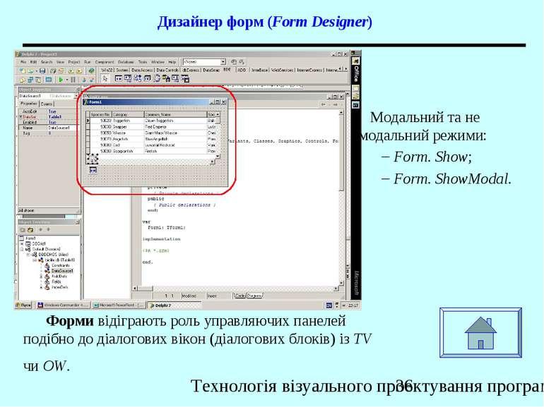 Дизайнер форм (Form Designer) Форми відіграють роль управляючих панелей подіб...