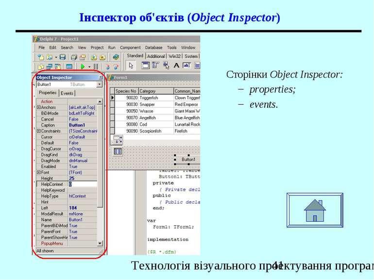 Інспектор об'єктів (Object Inspector) Сторінки Object Inspector: properties; ...