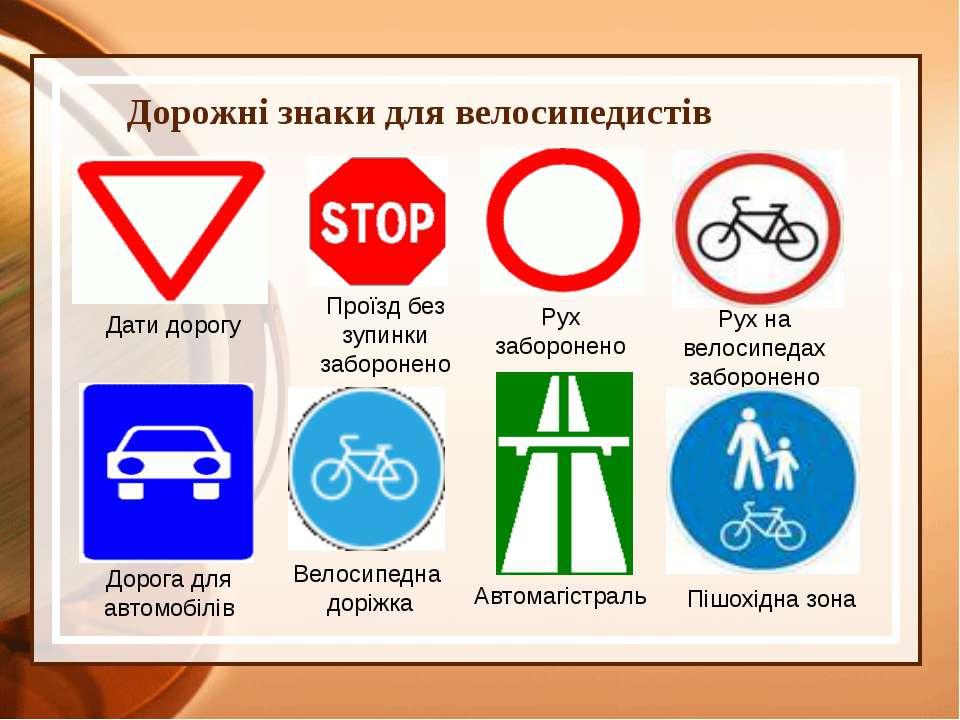 Дорожні знаки для велосипедистів Велосипедна доріжка Дати дорогу Проїзд без з...