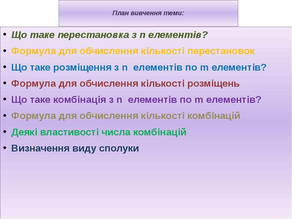 План вивчення теми: Що таке перестановка з n елементів? Формула для обчисленн...