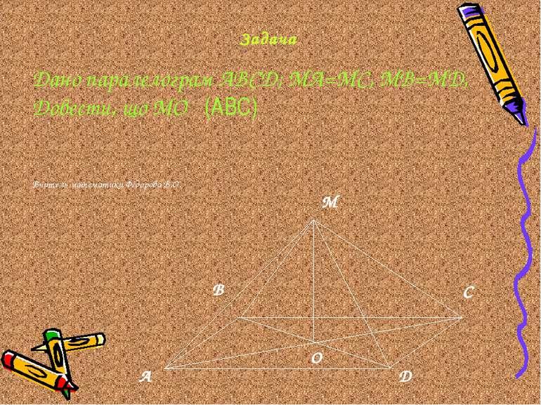 Задача Дано паралелограм АВСД; МА=МС, МВ=МД, Довести, що МО ḻ (АВС) Вчитель м...