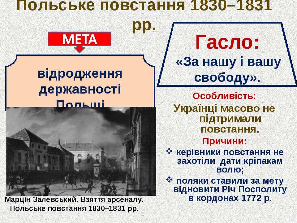 Польське повстання 1830–1831 рр. Особливість: Українці масово не підтримали п...